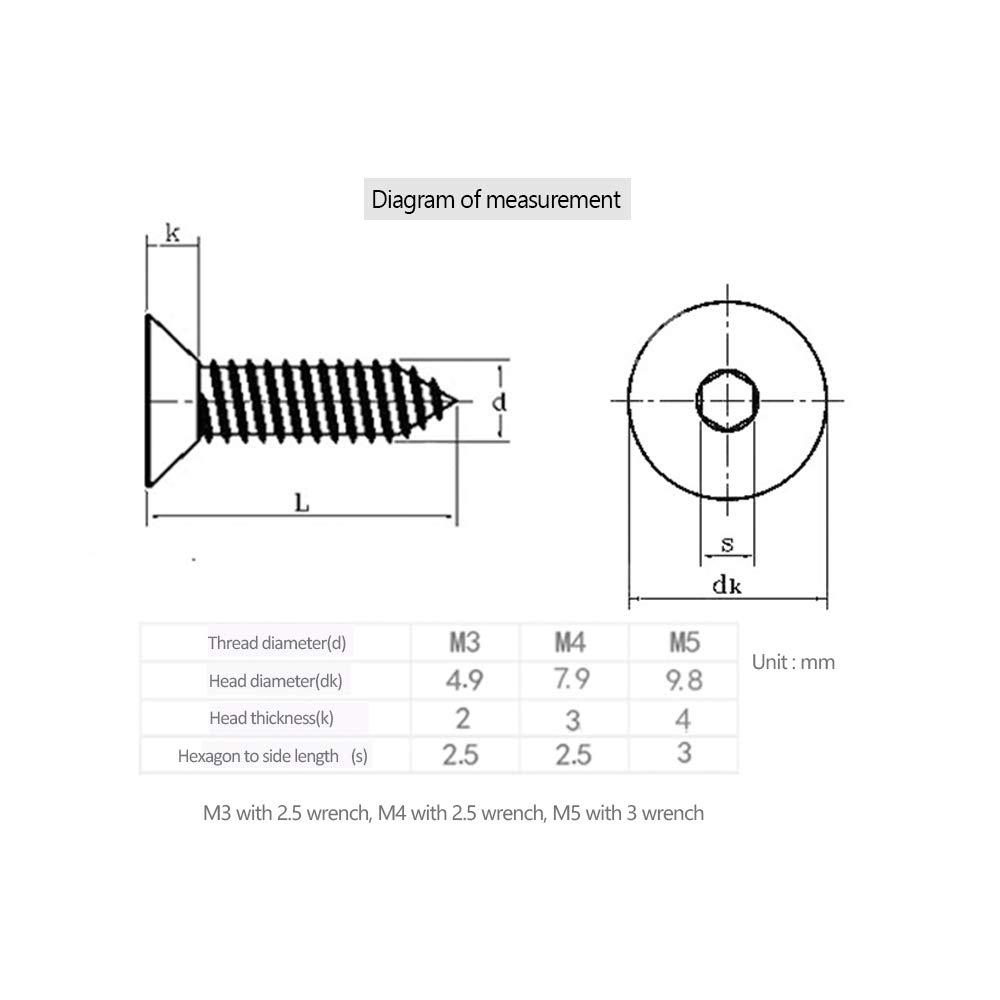 M4*12 XFentech Vis /à t/ôle autotaraudeuse Vis /à t/ôle /à t/ête hexagonale /à six pans creux en acier inoxydable M3 // M4 // M5 50 PCS Argent
