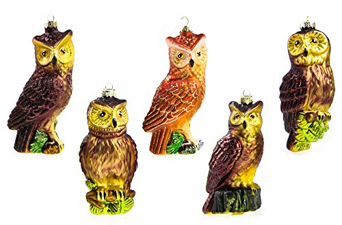 Youseexmas Set of 5 Mouth Blown Glass Owl Ornament