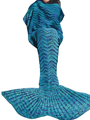 [TIAOBU Girls Handcrafted Crochet Knitted Swimming Mermaid Tail Sofa Blanket Wrap for Adult Children Blue Adults One] (Ariel Tail Costumes)