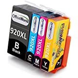 OfficeWorld 4 Pack 920 XL High Yield Ink Cartridges Compatible with HP Officejet 6500 6000 7000 7500 Printer (1 Black, 1 Cyan, 1 Magenta, 1 Yellow)