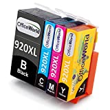 OfficeWorld Replacement for HP 920 920XL Ink Cartridges High Yield Compatible with HP Officejet 6500A 6500 7500A 7500 6000 7000 (1 Black, 1 Cyan, 1 Magenta, 1 Yellow)