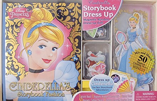 DISNEY Princess CINDERELLA Dress Up ACTIVITY SET w Activity STORY BOOK, Magnetic WOODEN Dress Up CINDERELLA DOLL 9-1/4 Tall, 50 Magnetic CLOTHING PIECES, & STORAGE CASE (Cinderella Activity)