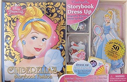 amazoncom disney princess cinderella dress up activity set w activity story book magnetic wooden dress up cinderella doll 9 14 tall