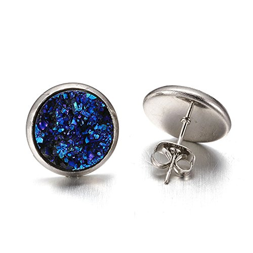 Fashewelry Flat Round Faux Druzy Stud Earrings Ear Stud with Stainless Steel Post for Women Girls (Blue)