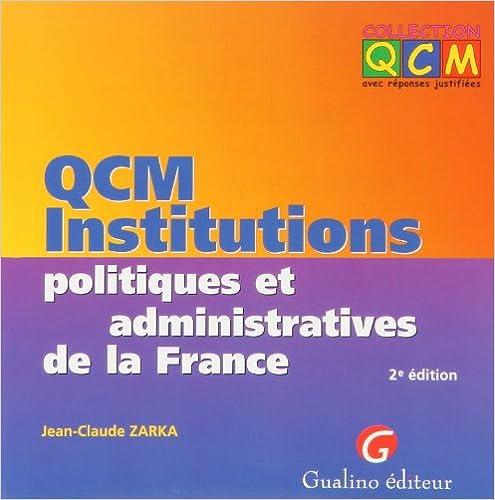En ligne QCM Institutions politiques et administratives de la France epub, pdf