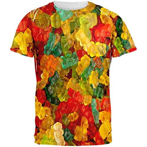 Old Glory Candy Gummy Bears All Over Adult T-Shirt - 2X-Large