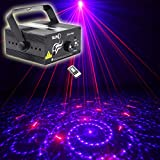 SUNY 3 Lens 24 Gobos Effect Blue LED Red Blue Laser Professional Projector Stage Light for DJ Disco Bar Home Show Party (RB Dynamic Projector)