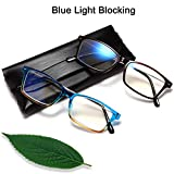 Blue Light Blocking Reading Glasses - 2 Pack Computer Readers Men and Women Magnifier Memory Safety Glasses Frame Clear Lens +2.25
