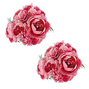 EZFLOWERY 2 Pack Artificial Peony Silk Flowers Arrangement Bouquet for Wedding Centerpiece Room Party Home Decoration, Elegant Vintage, Perfect for Spring, Summer and Occasions (2, Spring Pink) 15