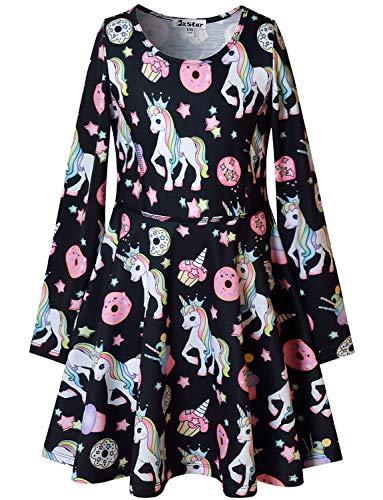 Black Unicorn Dresses for Big Girls 7-16 Long Sleeve Swing Casual Dresses
