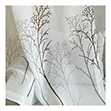 Aside Bside Sheer Curtains Transparent Window Deocration Cold Style Birch Trees Printed Rod Pocket Top For Kitchen Houseroom and Sitting Room (1 Panel, W 52 x L 63 inch, White)