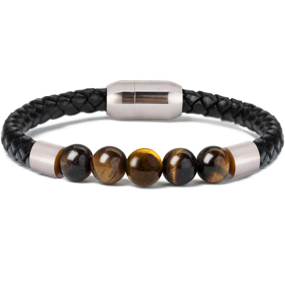 Ckysee 7 Chakra Lava Rock Bracelet Healing Balancing Genuine Leather Bracelets with Magnetic Clasp Tiger Eye Agate Howlite for Men Ckysee Jewelry WF7289ST215