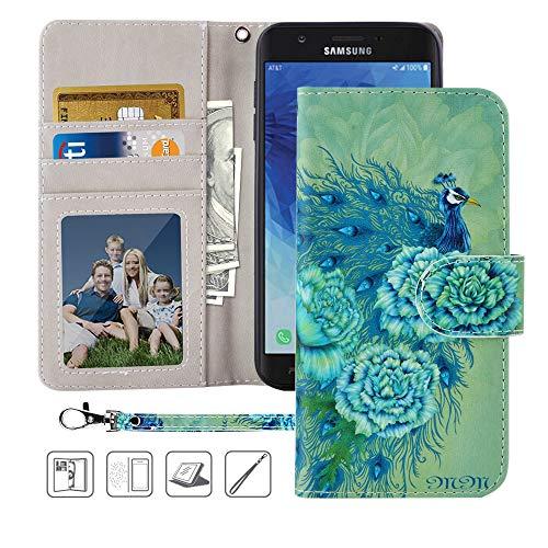 (Galaxy J7 Refine Wallet Case,MagicSky J7 Aero,J7 Top,J7 Aura,J7 Crown,J7 Eon PU Leather Flip Folio Case Cover with Wrist Strap,Card Holder,Kickstand for Samsung Galaxy J7 2018(Green Peacock))
