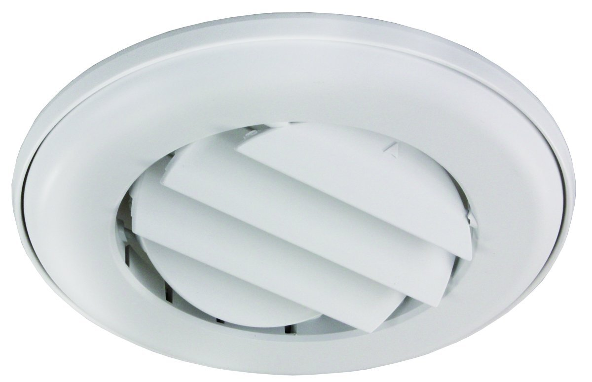 JR Products ACG25DPW-A Polar White Adjustable Ceiling Vent with 0.25'' Collar