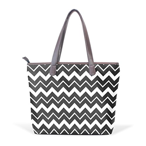 Coosun Black Chevron Handle Large Bag Leather Shoulder Tote Bag Hand Pu M (40x29x9) Cm Multicolor # 003