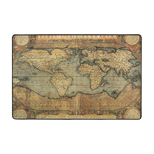 SRuhqu Area Rugs Washable 16Th Century Map of The World History Carpet with Non-Skid 36