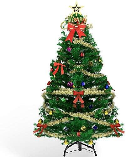 AHK Albero di Natale Artificiale 150cm con LED Luci, 135 Pezzi Decorazioni Natalizie, Rami a Gancio, Facile Montaggio, PVC, Base Metallica, Ignifugo per Natalizie Decorazioni da Interno e All'aperto