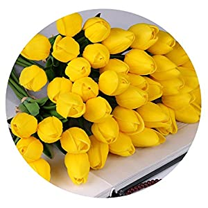 Zalin 10 Pcs Beauty Real Touch Flowers Latex Tulips Flower Artificial Bouquet Fake Flower Bridal Bouquet Decorate Flowers for Wedding 60