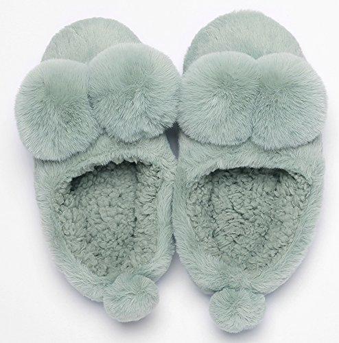 Plush Ball Bedroom Slippers Green UIESUN Winter House Cute Shoes Indoor Women Soft Slipper WEqg8p0UF8