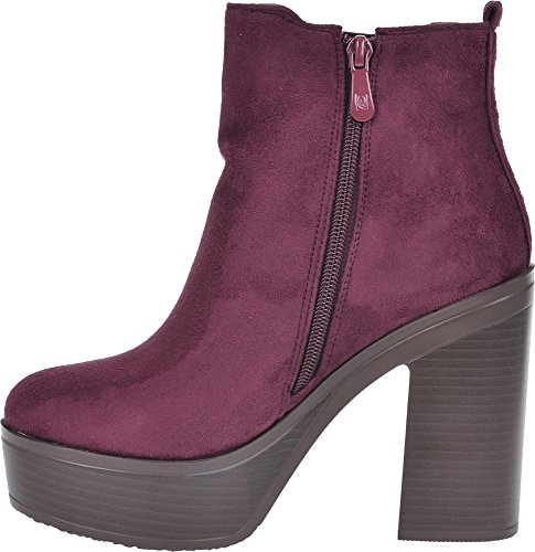 New womens black chunky sole platform block heel chelsea ankle boots Burgundy Suede