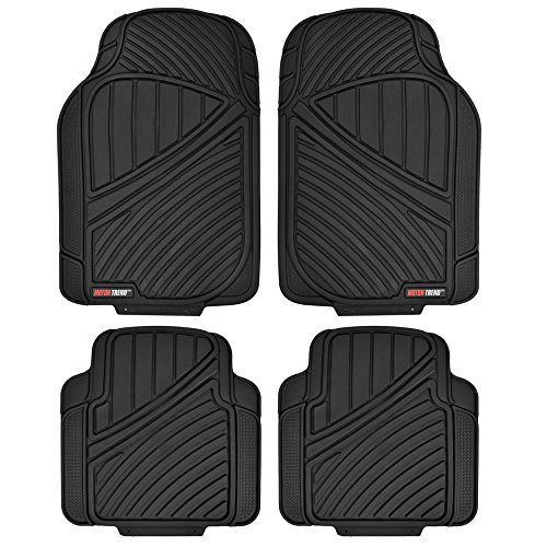 Motor Trend FlexTough Standard - 4pc Set Heavy Duty Rubber Floor Mats for Car SUV Van & Truck (Black)