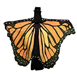 (US) VESNIBA Soft Fabric Butterfly Wings Shawl Fairy Ladies Nymph Pixie Costume Accessory (197125CM, Orange)