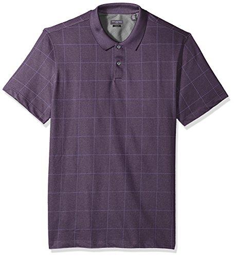 Van Heusen Men's Short Sleeve Printed Windowpane Polo Shirt, Purple BlackBerry Plum, Large (Short Sleeve Knit Polo Shirt)