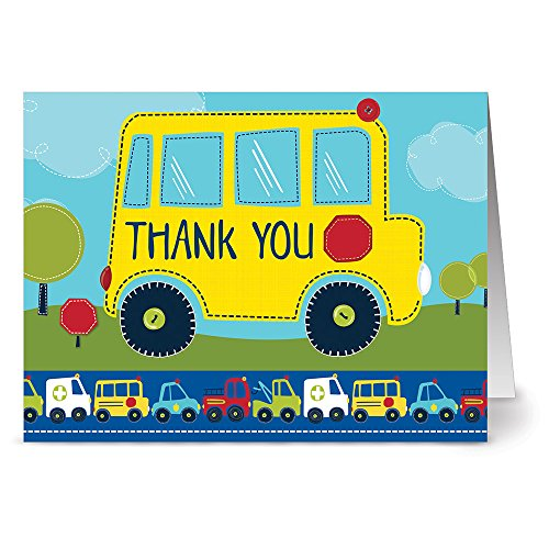 Cards Driver Note - 24 Note Cards - School Bus Thank You - Blank Cards - Red Envelopes Included