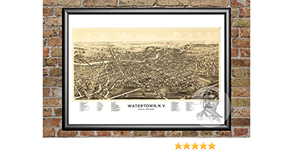 Amazon Com Ted S Vintage Art Watertown New York 1891 Map Wall Art Print Museum Quality Matte Paper Ideal For Home Kitchen Decor Digitally Restored Historic Lithograph Poster 12 X