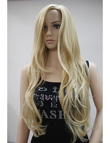 liap-Beauty Wigs New Fashion No Bangs Side Skin Part Top Women's Golden Blonde Mix Long Curly Wavy (Harley Quinn Costume Commission)