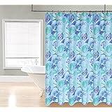 "Regal Home Collections ocean 70"" W X 72"" L printed Fabric Shower Curtain, Aqua/Green"
