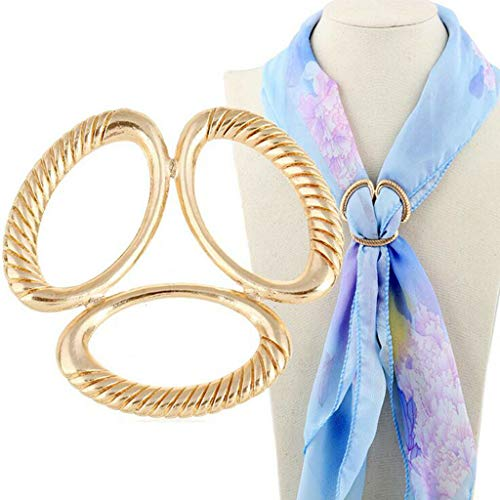 Trio Scarf Ring Silk Scarf Buckle Clip Slide Jewelry Geometric Knot Fasten (Color - Golden)