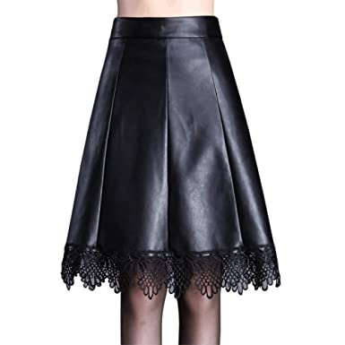 DISSA D6382 - Falda de Piel sintética para Mujer Negro 40 EU XX ...