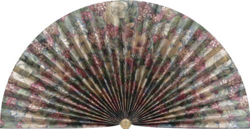Neat Pleats Decorative Fan, Hearth Screen, or Overdoor Wall Hanging - Victorian Country Green with Gold, Blue & Purple Flower Floral - LARGE (Fireplace Screen Fan)