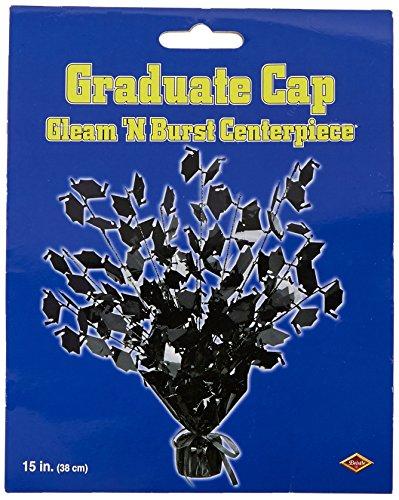 Beistle Graduate Cap Gleam 'N Burst Centerpiece, 15-Inch, Black ()