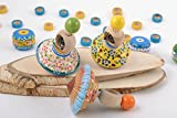 Set Of 3 Handmade Wooden Eco Painted Bright Spinning Top Toys For Children