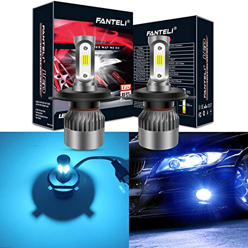 FANTELI H4/9003/HB2 8000K Ice Blue 3-Sided LED Headlight Bulbs All-in-One Conversion Kit - 72W 8000lm Dual Hi/Lo Beam Extremely Bright Blue H4 Xenon Hid Headlights