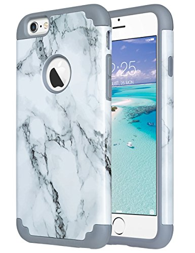 Double Marble - ULAK iPhone 6S Case,iPhone 6 Case Marble, Slim Fit Dual Layer Soft Silicone Gel Rubber & Hard Back Cover Bumper Protective Shock-Absorption & Skid-Proof Anti-Scratch Hybrid Case, Marble Pattern