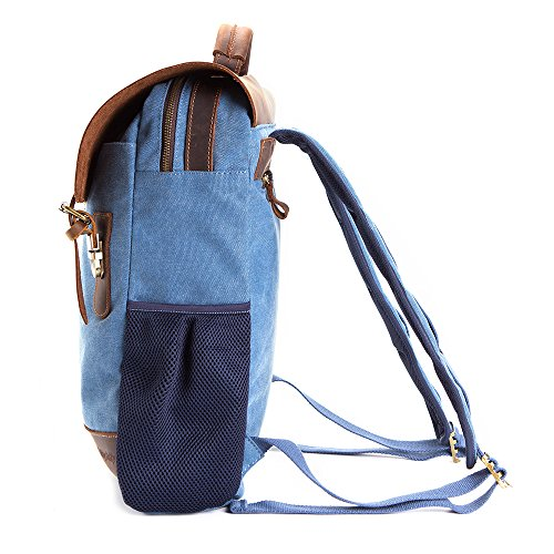 Vintage Leather Canvas Backpack - Retro Canvas School Rucksack Backpack up to 15.6 inch Laptop Bag by AUGUR (Image #1)