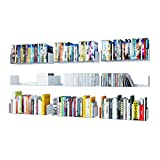 WALLNITURE U Shape Bookshelf Wall Mountable Metal CD DVD Storage Rack White Set of 9