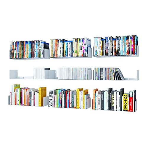 (Wallniture U Shape Bookshelf Wall Mountable Metal CD DVD Storage Rack White Set of 9)