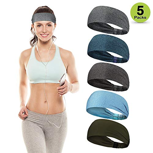 HUIJIE Sports Headbands for Men & Women (Various of Styles) - Sports Hair Bands, Women Sweat Wicking Head, Moisture Wicking Sweatbands for Workout Yoga Cycling Running Cross Training Fitness Exercise