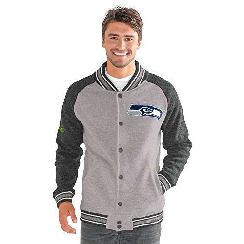 G-III Sports NFL Seattle Seahawks Adult Men The Ace Sweater Varsity Jacket, Large, Gray (Mens Jacket G-iii)