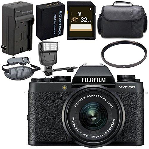 Fujifilm X-T100 Mirrorless Digital Camera with 15-45mm Lens (Black) 16582804 + 52mm UV Filter + Carrying Case + Universal Slave Flash Unit + Hand Strap Bundle