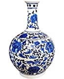 Big Sale ! Classic Chinese Vintage Ming Era Blue and White Porcelain Floral Globular Vase
