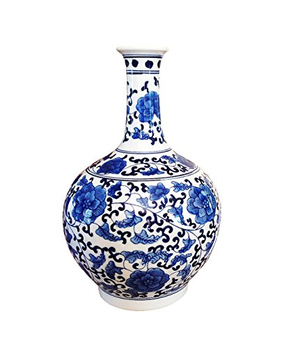 - Classic Ming Era Blue and White Porcelain Floral Globular Vase