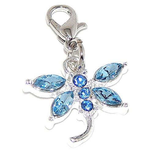 GemStorm Silver Plated Dangling Blue Crystal Dragonfly Clip On Lobster Clasp Charm Dragonfly Silver Plated Charms