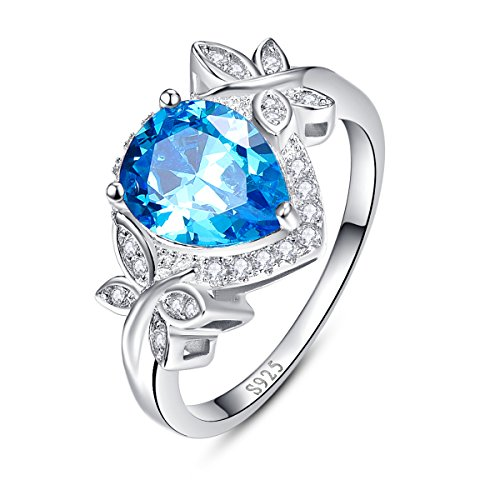 (BONLAVIE 925 Sterling Silver Dazzling Cubic Zirconia Created Swiss Blue Topaz Gemstone Promise Ring Size 7)