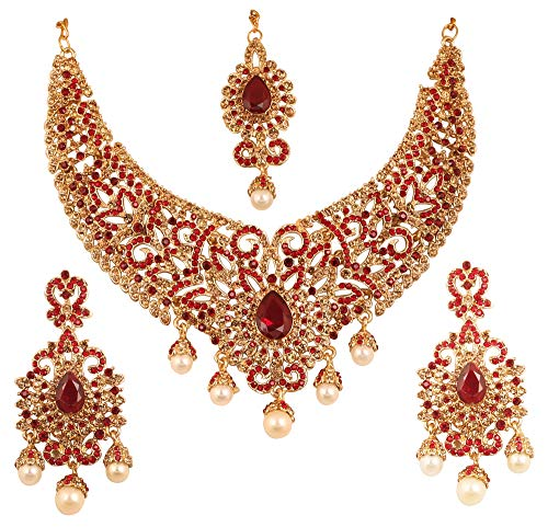 Touchstone New Indian Bollywood Desire Charming Studded Diamond Look Fine Filigree Yellow Red Rhinestones Heavy Bridal Jewelry Hasli Necklace Set in Antique Gold Tone for Women