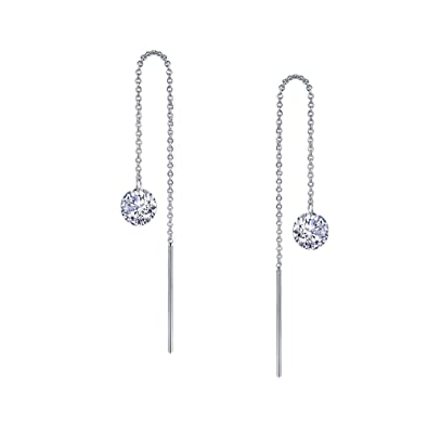 f3a33de7c Amazon.com: Lafonn Lassaire In Motion Sterling Silver Platinum Plated  Lassire Simulated Diamond Earrings (2 CTTW): Jewelry